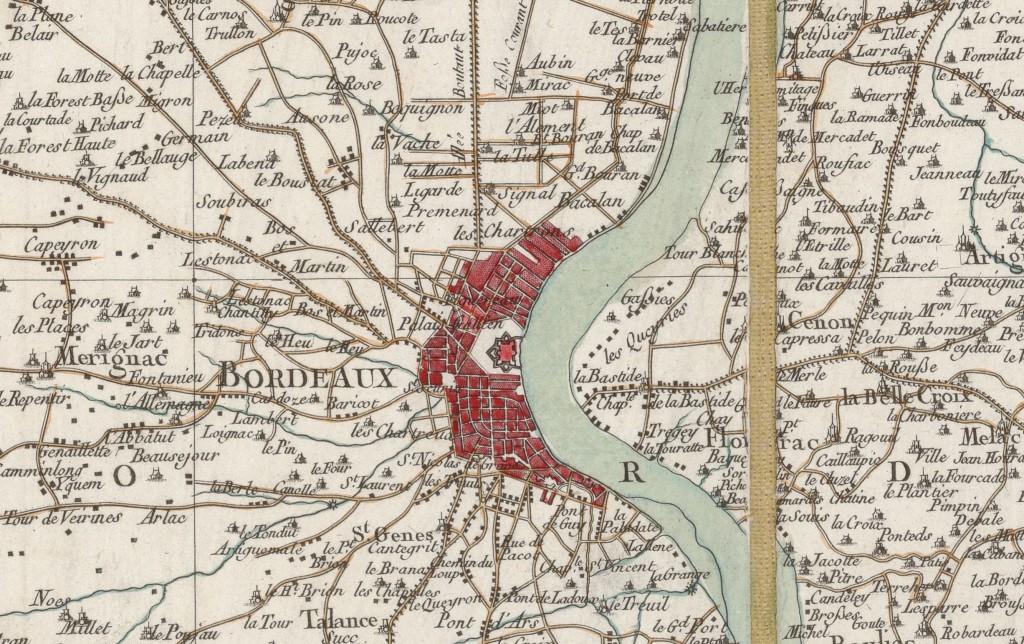 Bordeaux sur la Carte générale de la France de Cassini. Source : Gallica/BnF